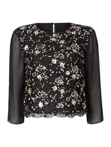Max Mara Celso embellished 3/4 sleeved silk top
