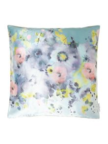 Digital print floral cushion, grey