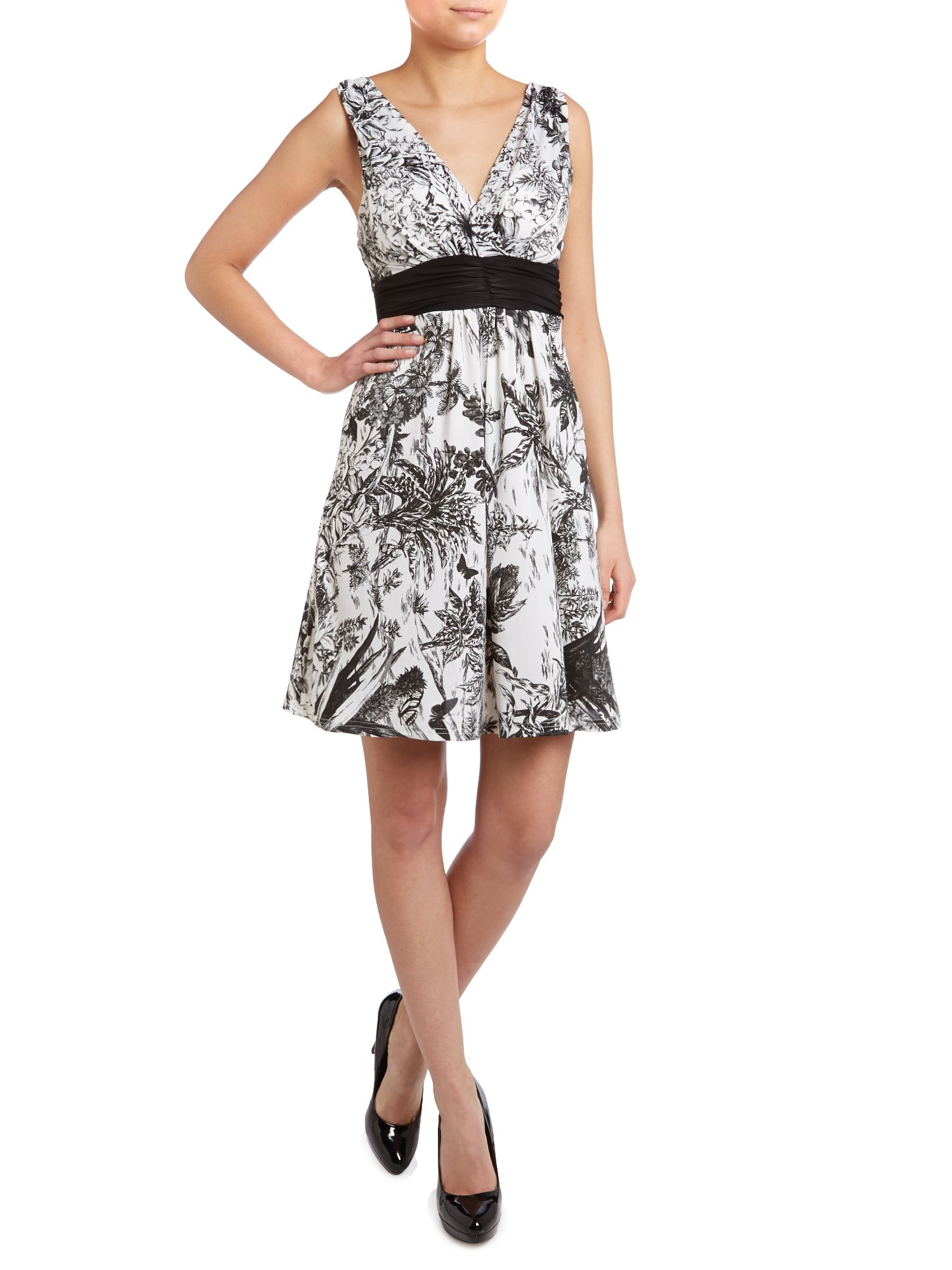 Tie belt printed mini dress