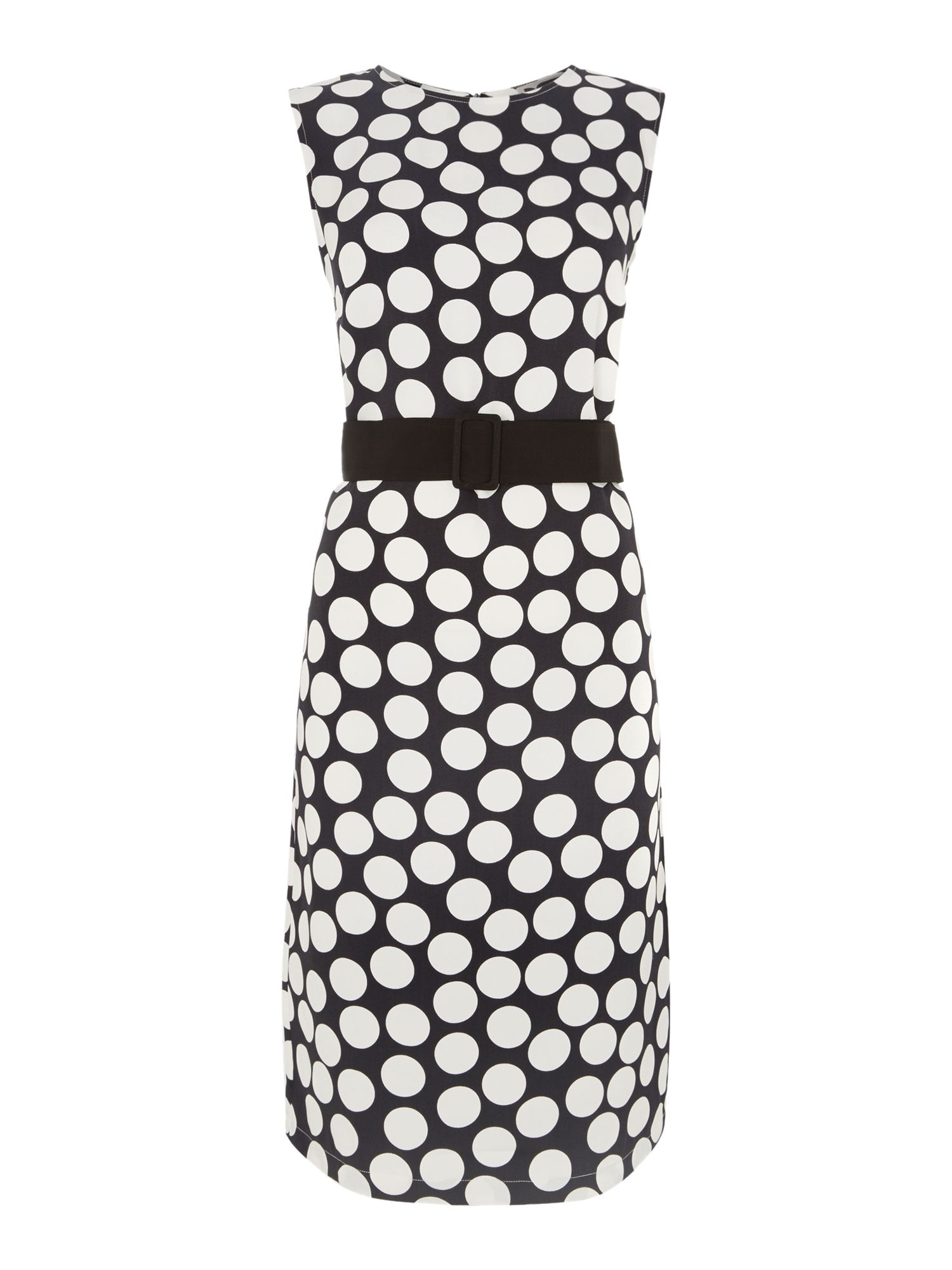 Large dot bow belted shift dress