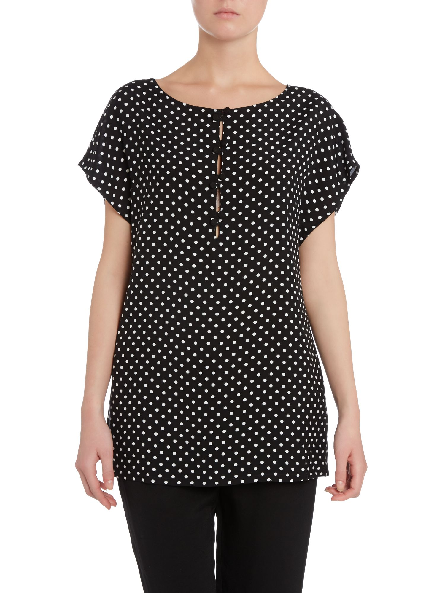 Polka dot button front blouse