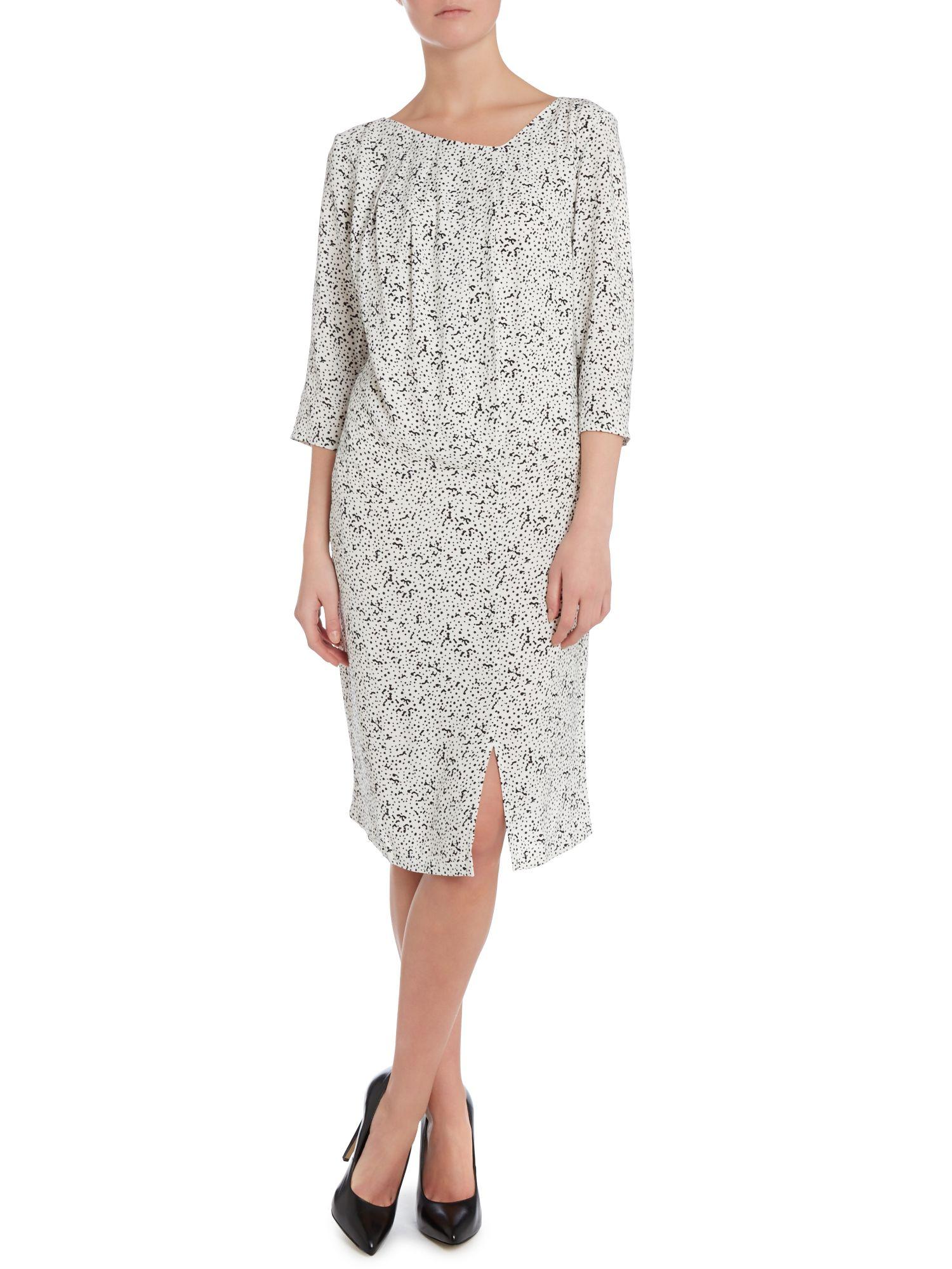 Spots print pleat neck shift dress