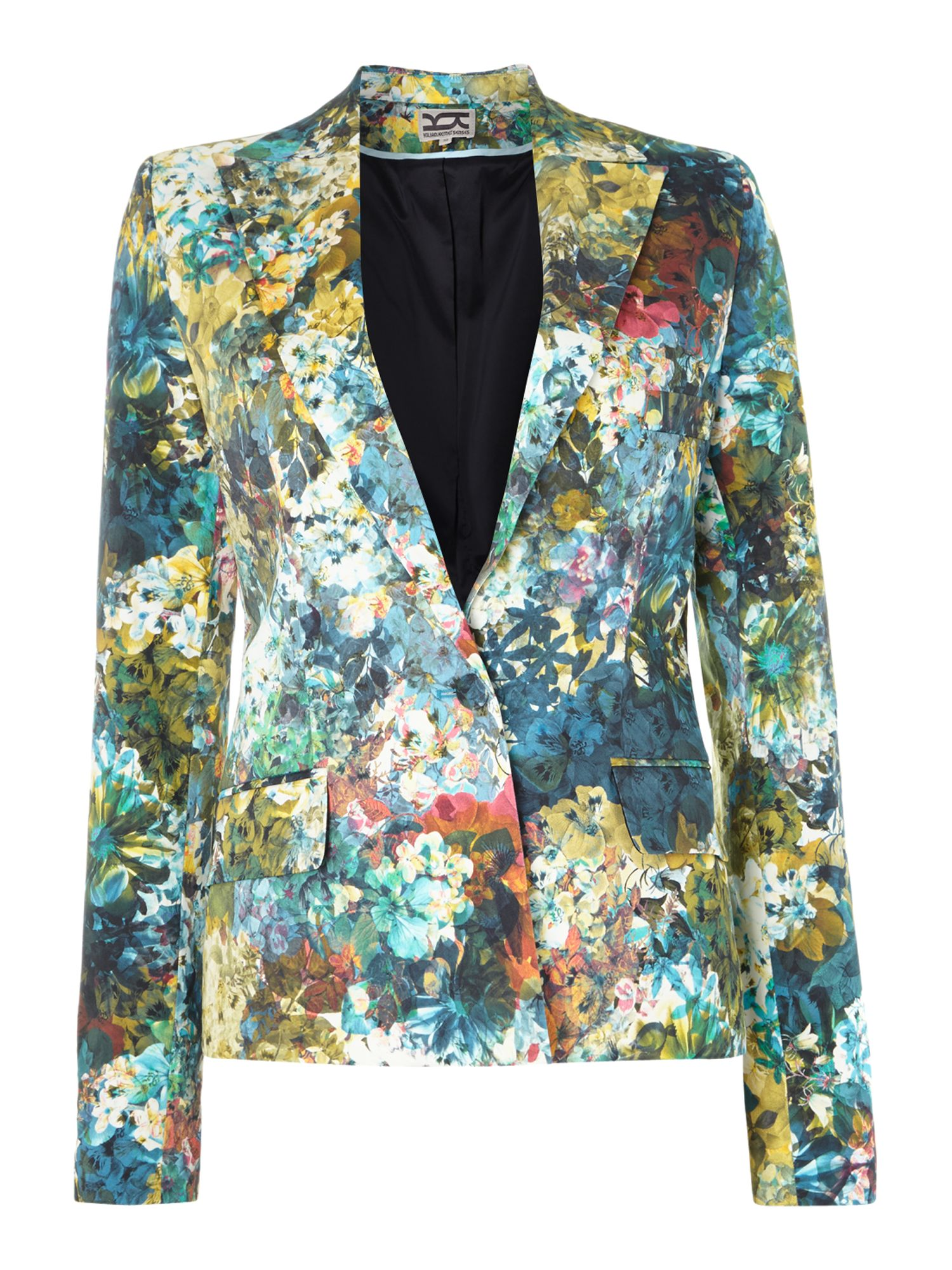 Flowers print club blazer