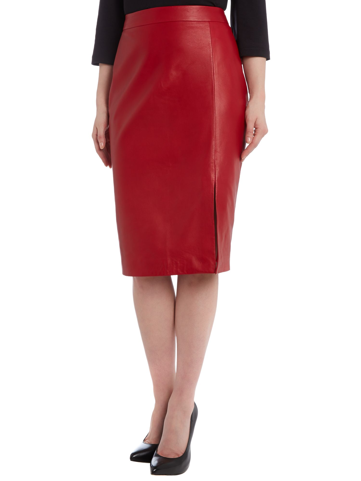 Side split leather pencil skirt
