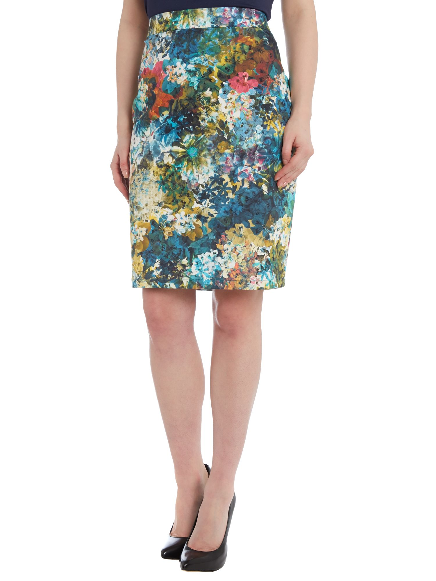 Flowers print pencil skirt
