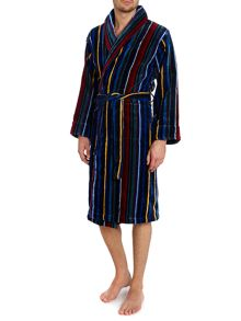 Multistripe towelling robe
