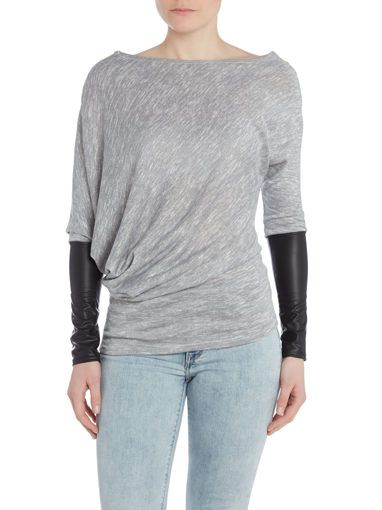 Assymetric neckline Pu sleeved top