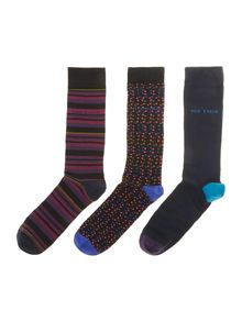 3 pack stripe and spot sock in a box