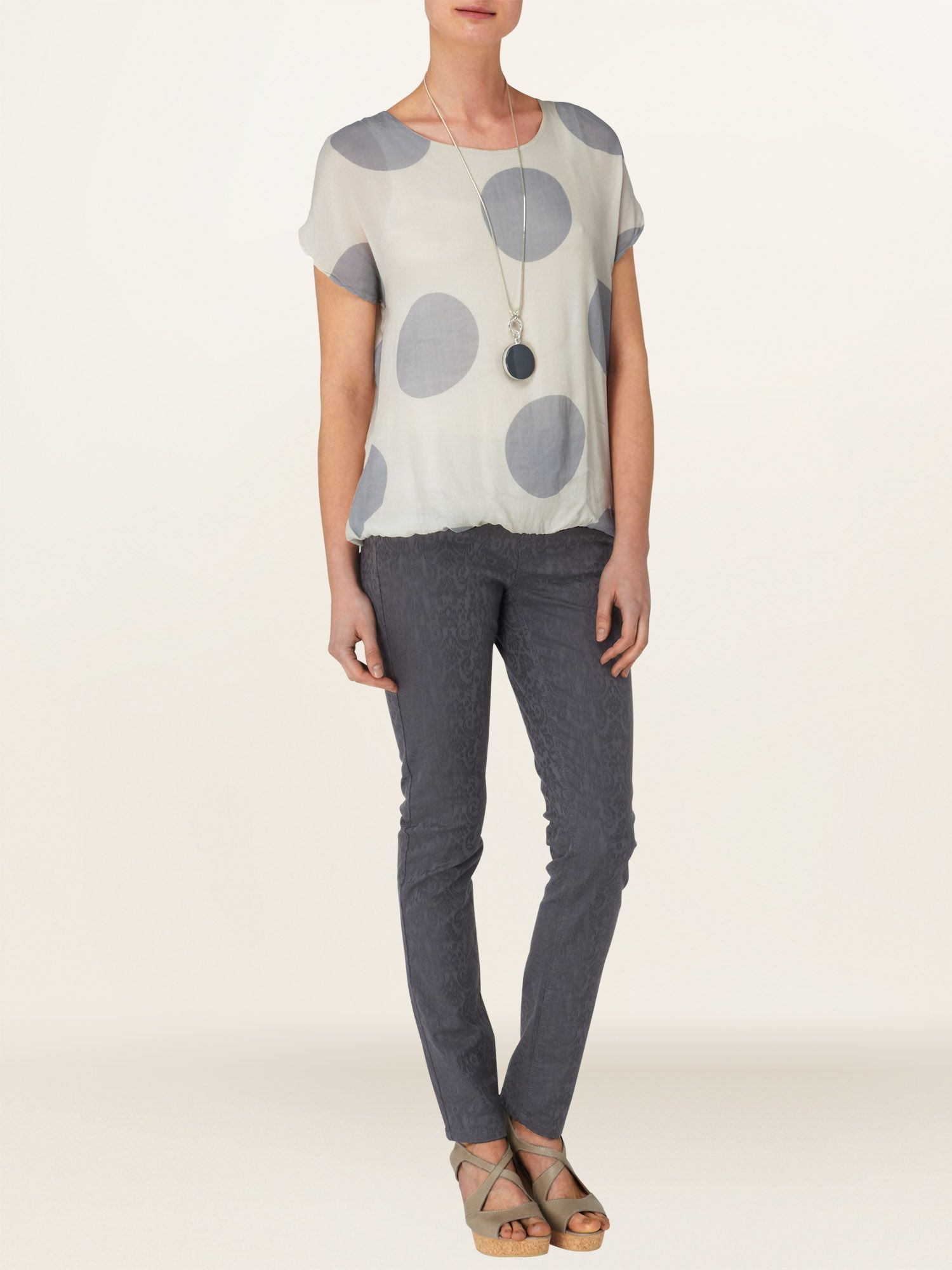 Allie spot cap sleeve blouse