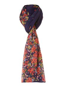 Oversized floral border scarf