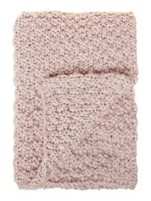 Bobble knit throw, blush