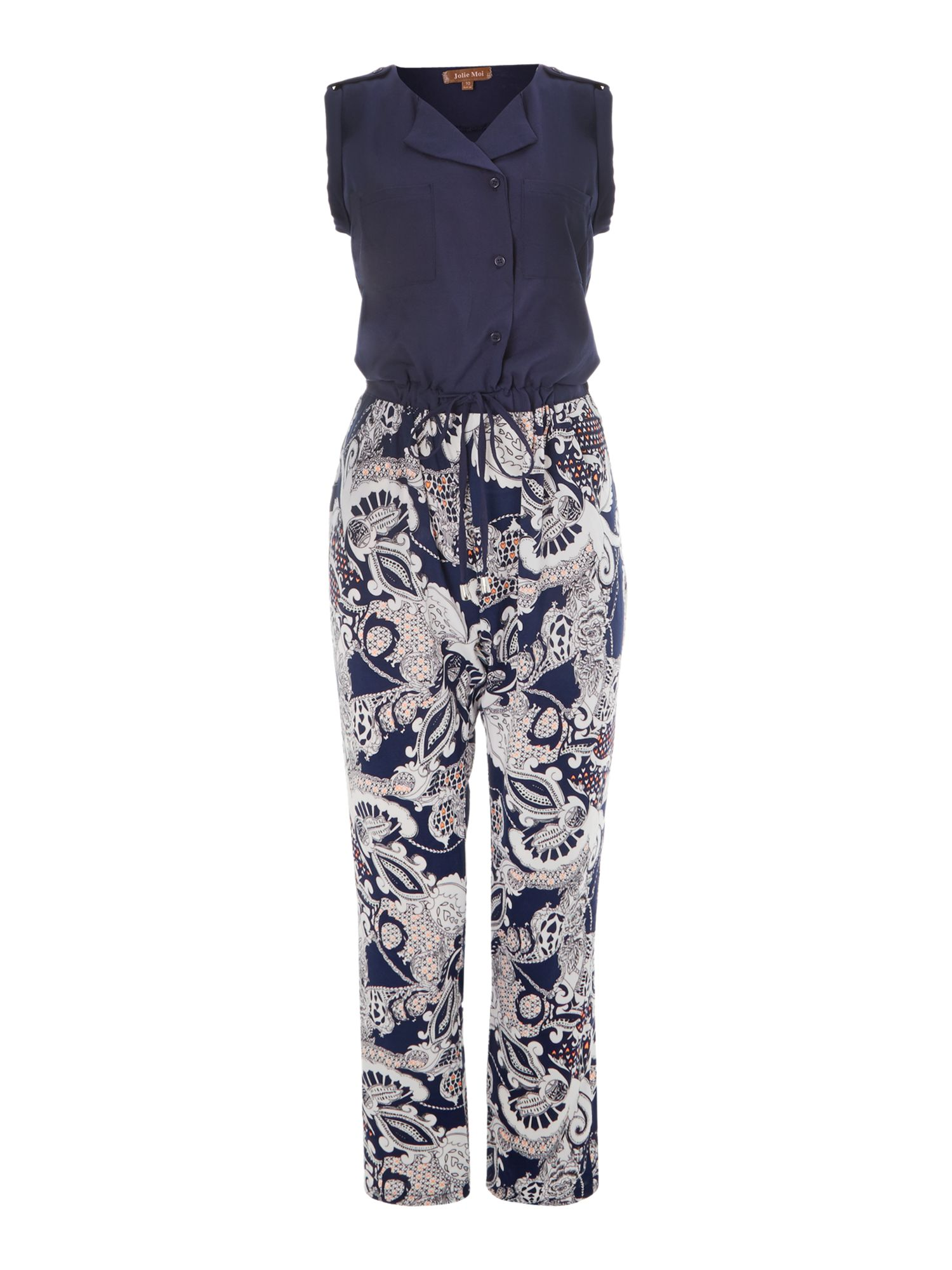 Two tone paisley printed jumpsuit
