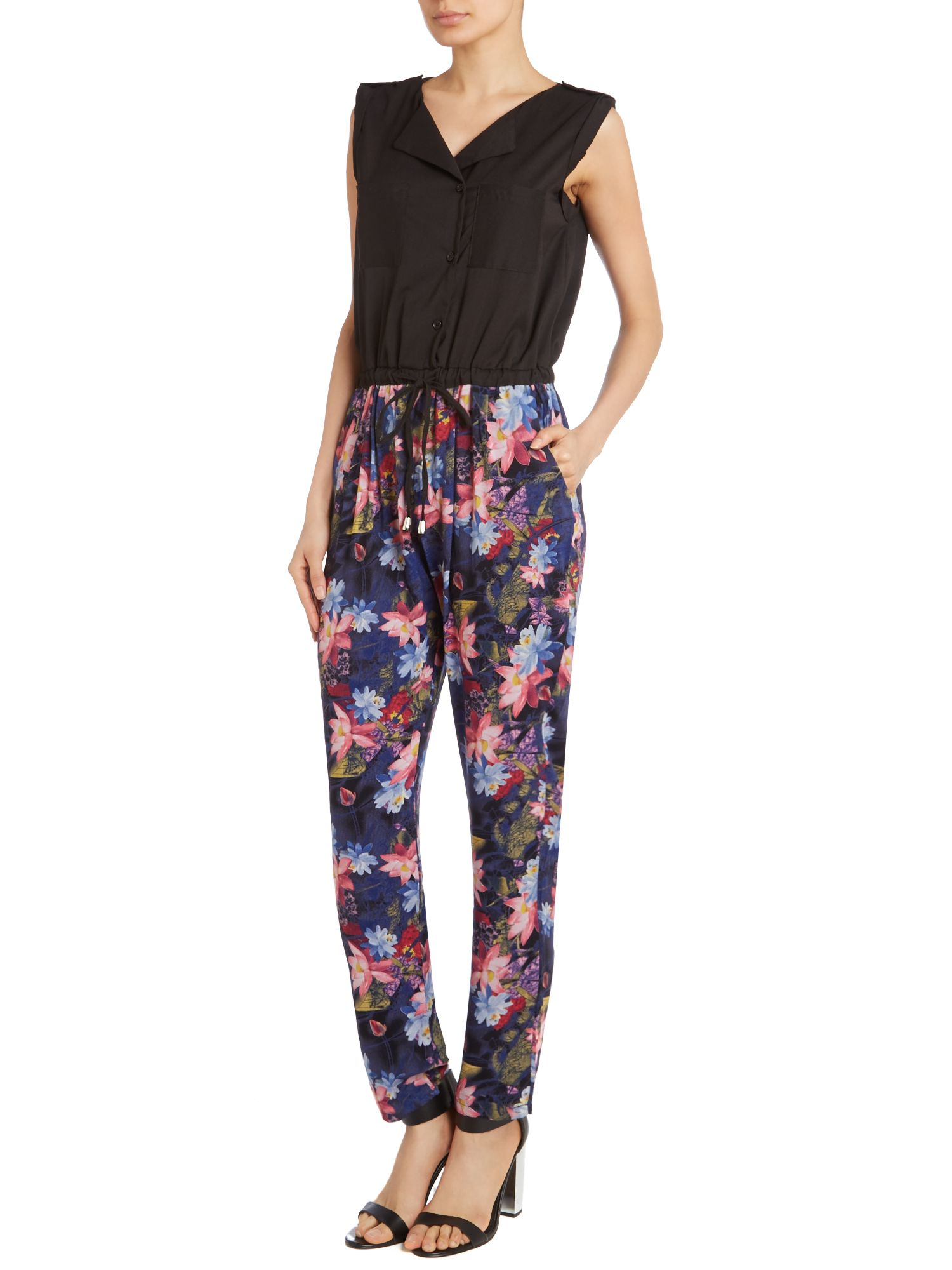 Two tone floral printed jumpsuit
