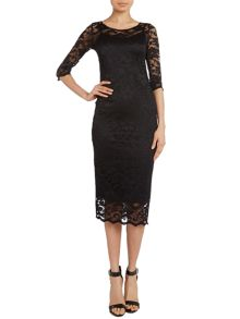 3/4 sleeve lace midi dress