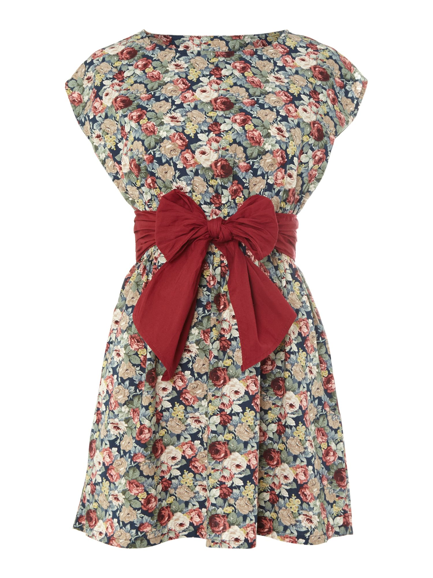 Floral print tunic with front bow