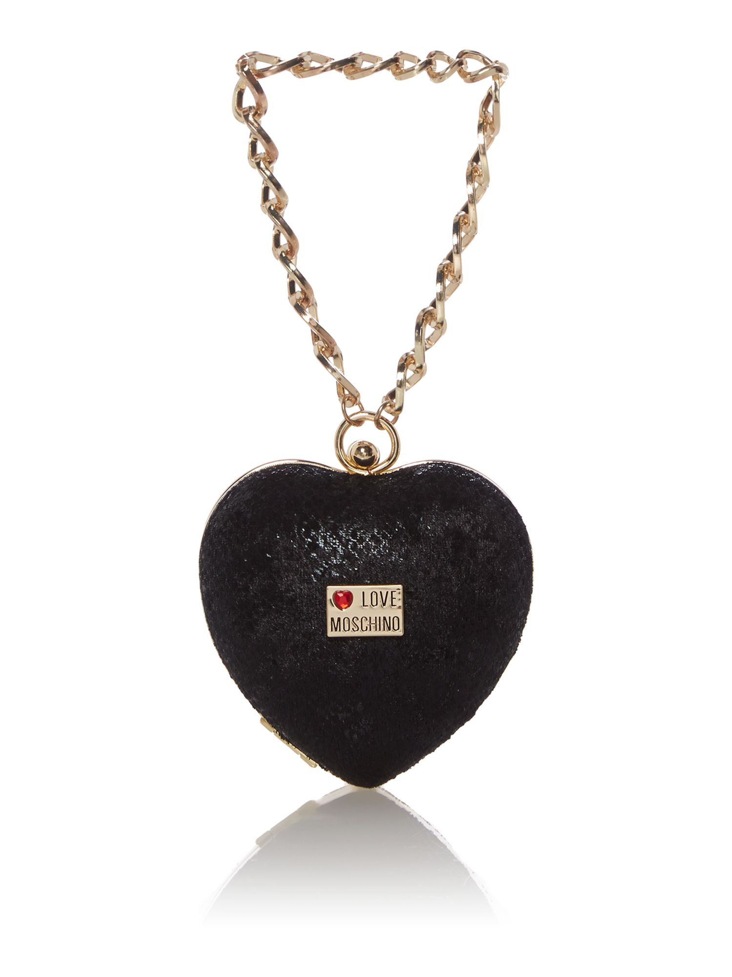 Black heart wristlet clutch bag