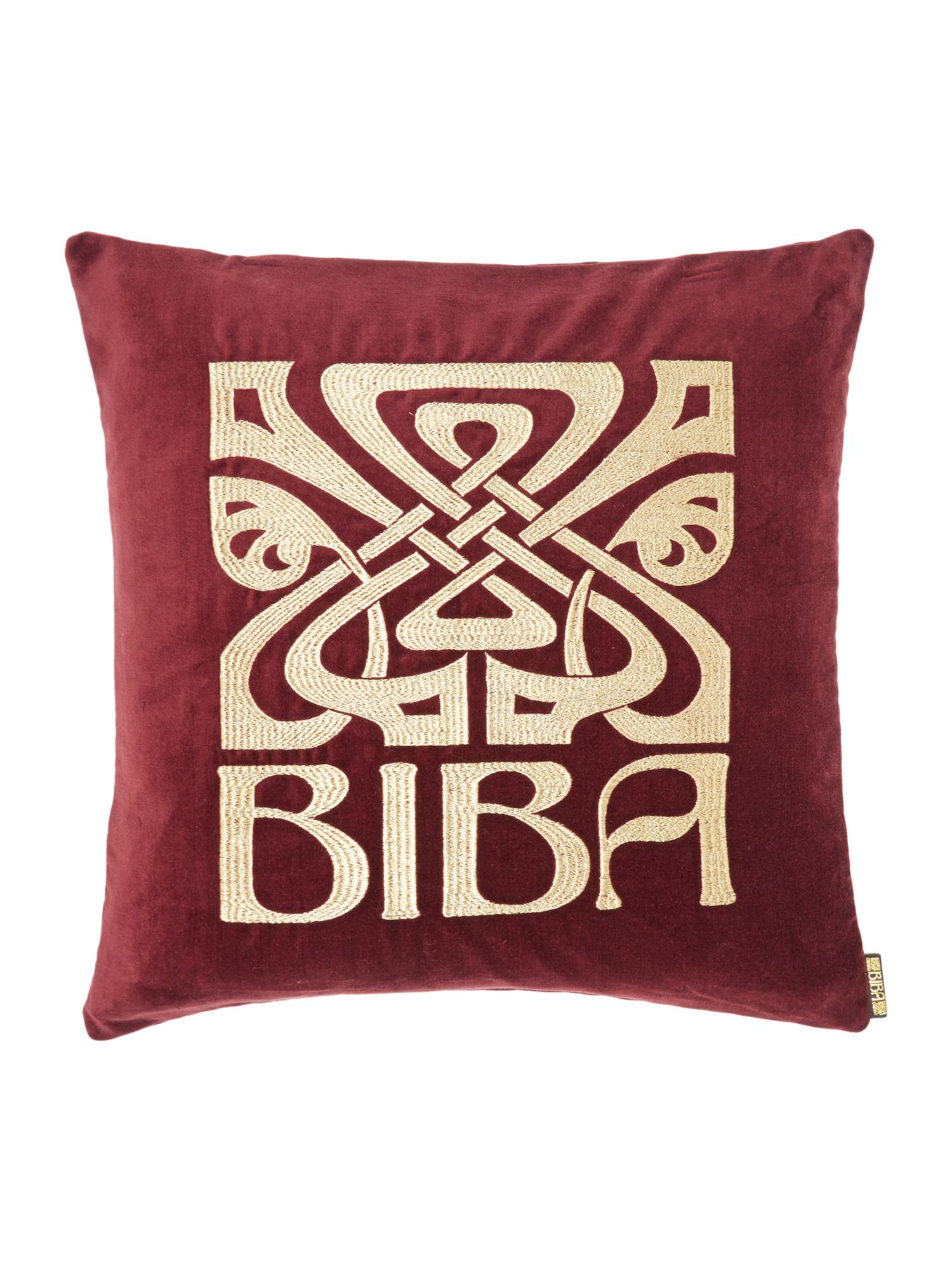 Purple velvet Biba logo cushion