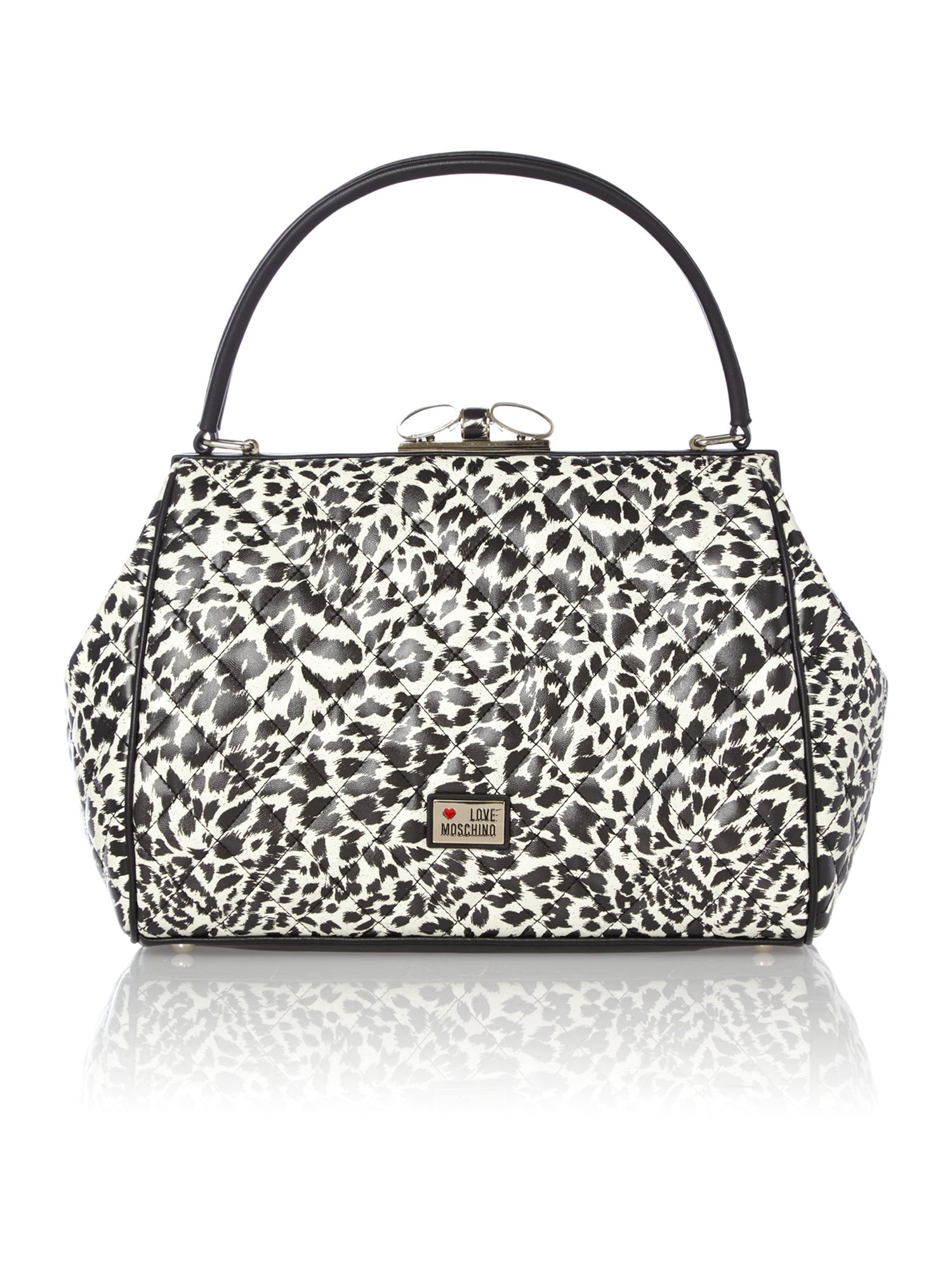 Black and white leopard print shoulder bag