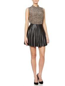 Eguale pleated leather mini skirt