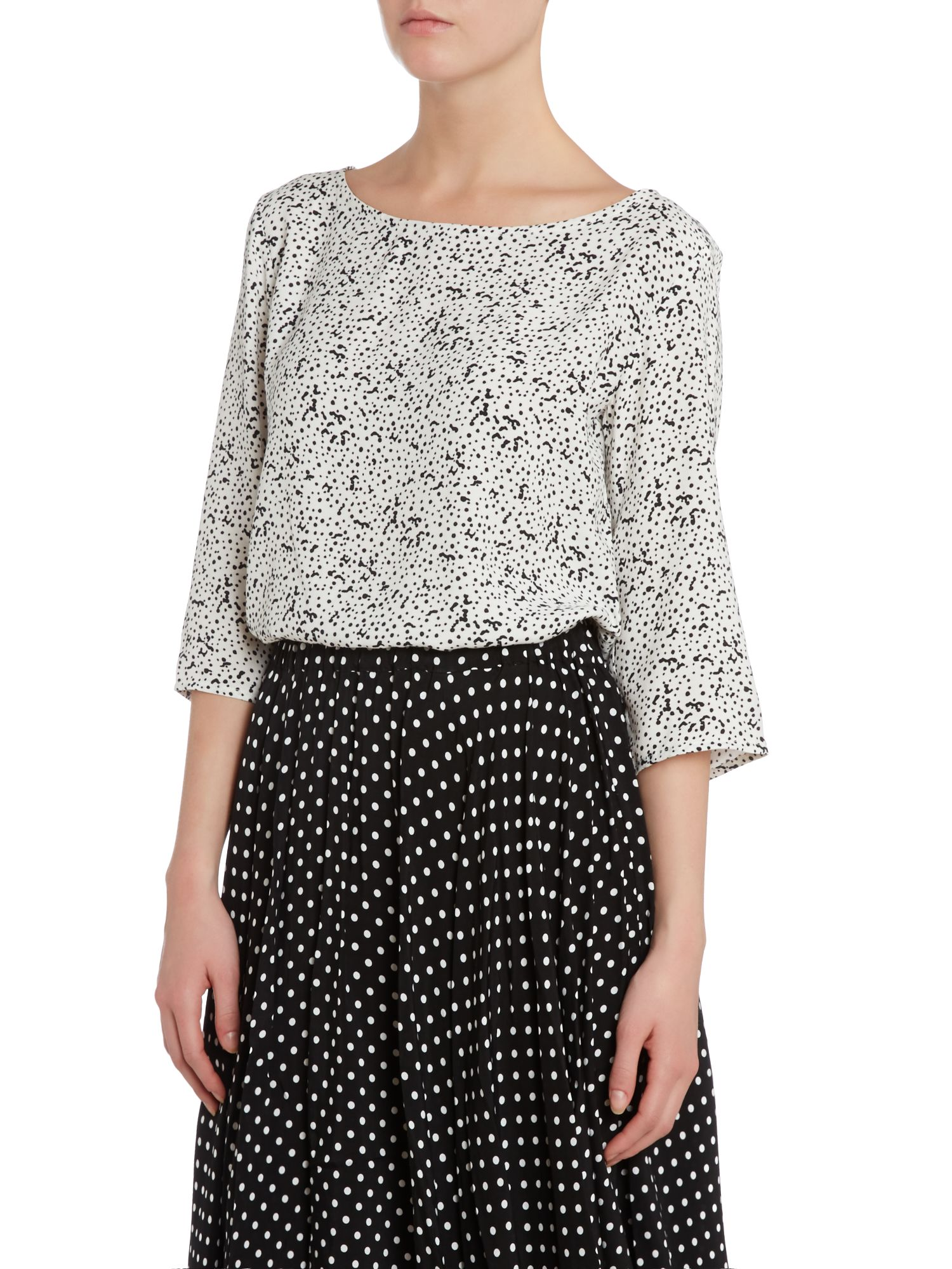 Spots print slash neck blouse