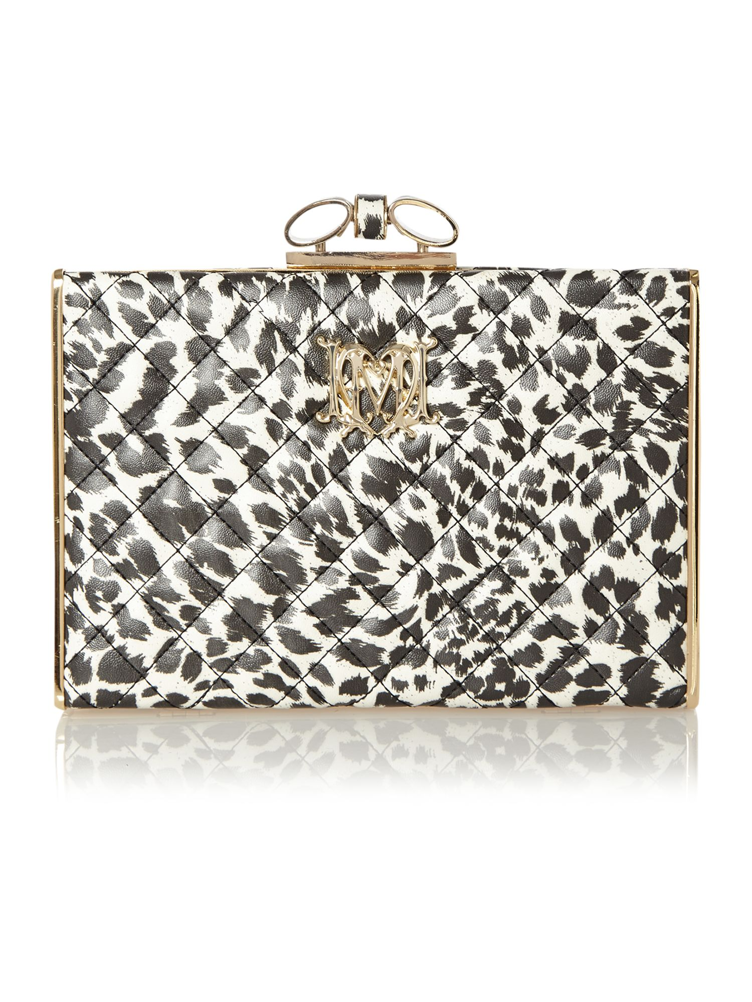 Black and white leopard print clasp clutch bag