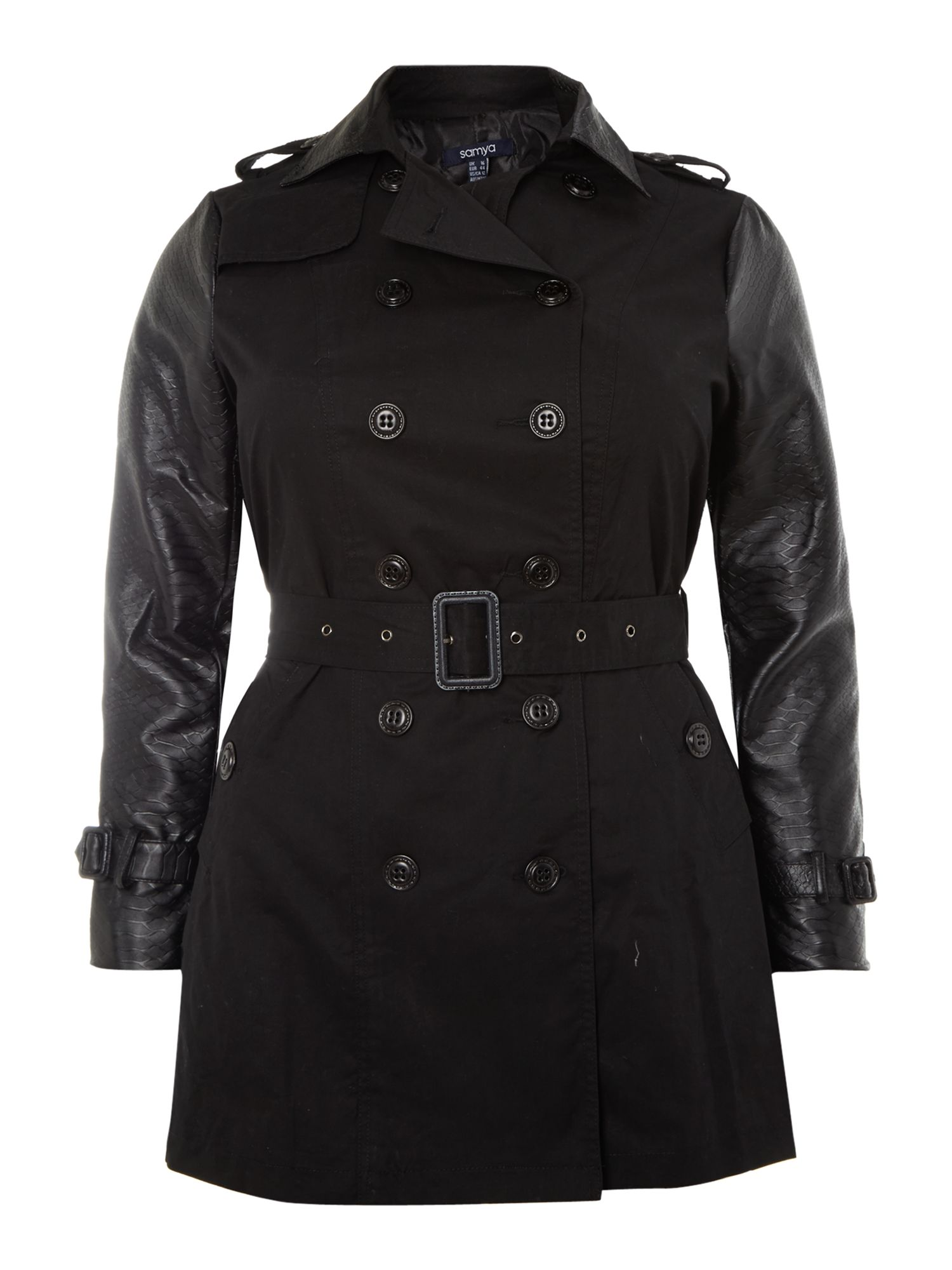Reptile contrast sleeve trench coat
