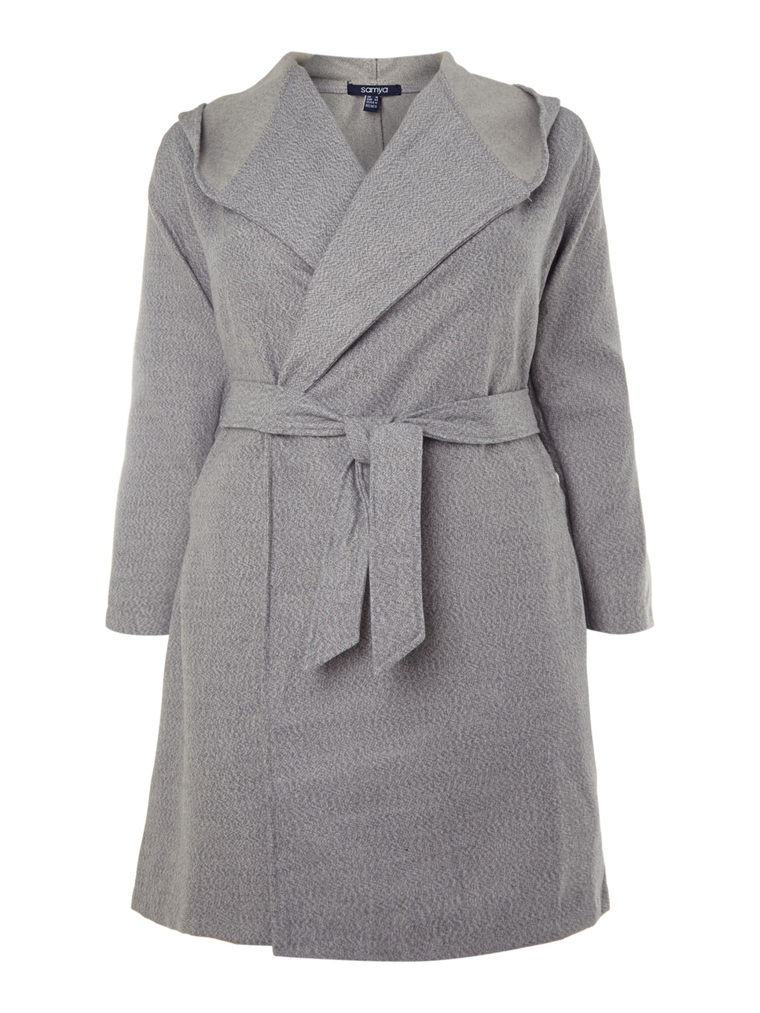 Tie front hooded coat