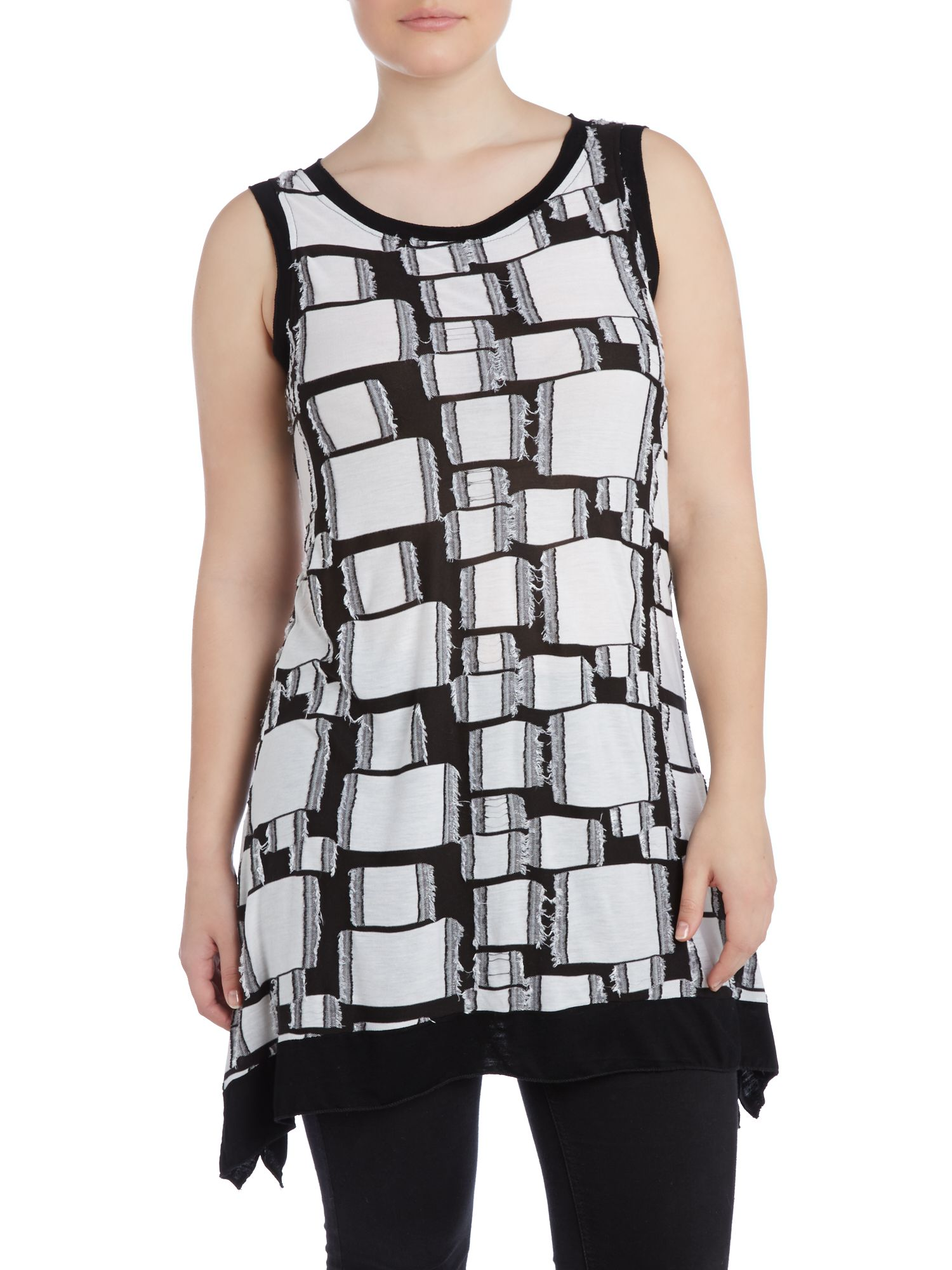 Abstract square print top