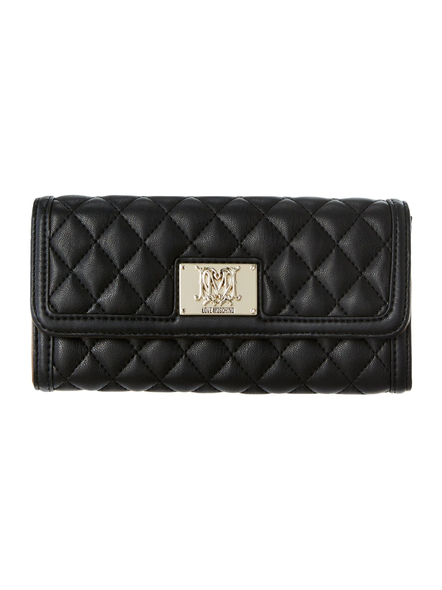 Black large quilted flapover purse