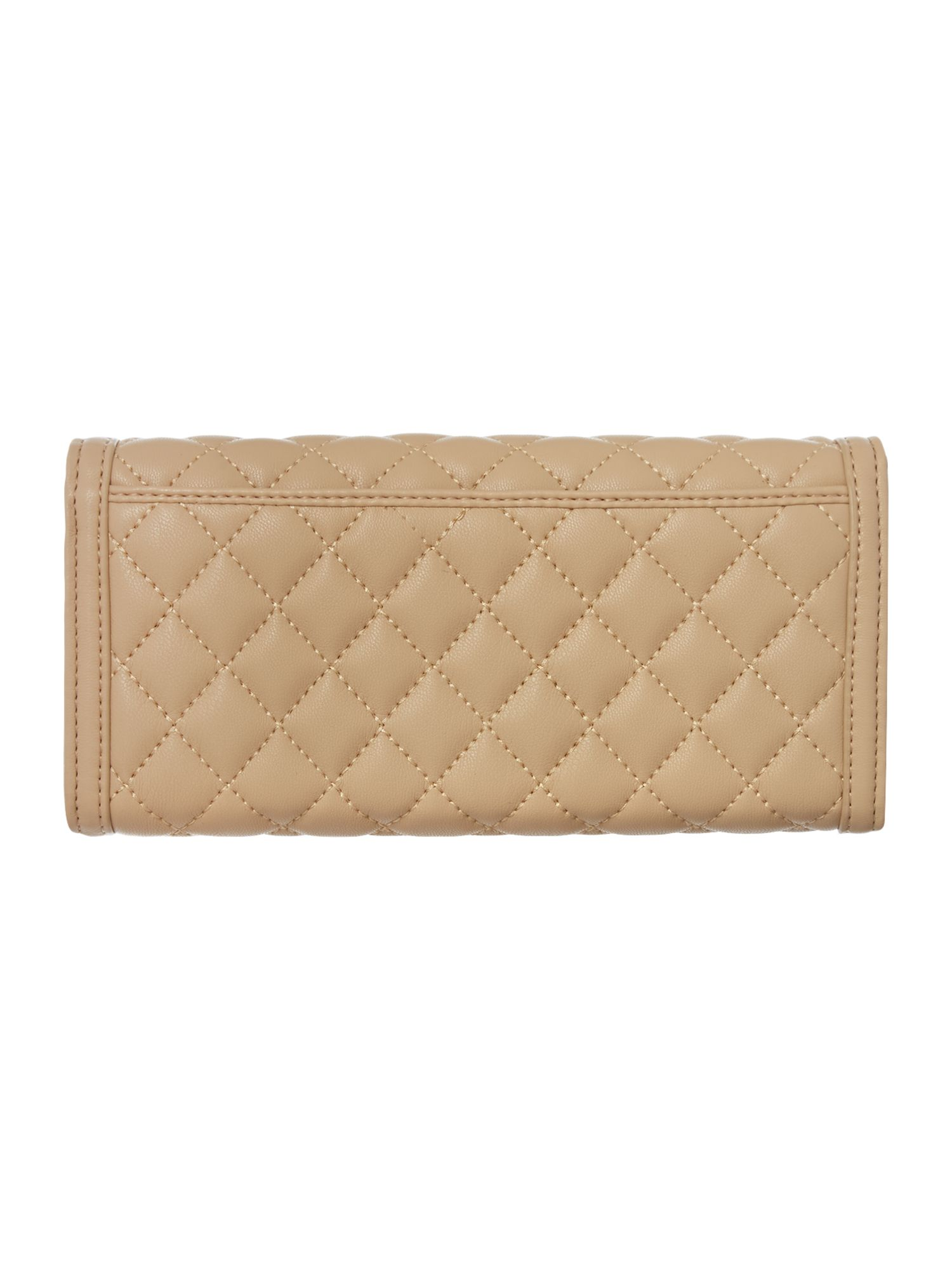 Beige large quilted flapover purse