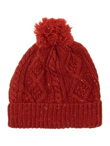 Cable pompom beanie hat