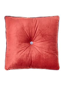 Button velvet cushion, raspberry