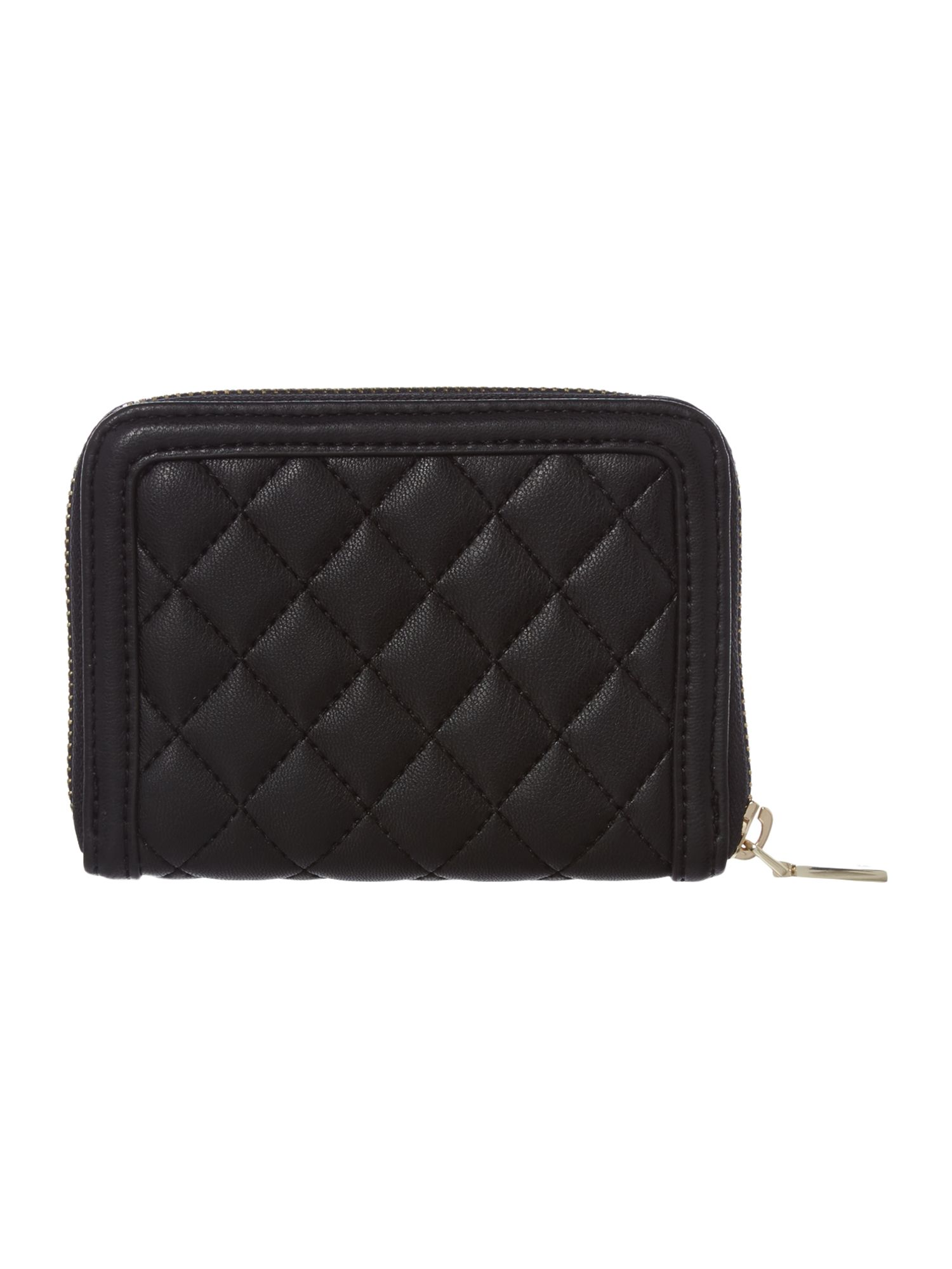 Black small quilt ziparound purse