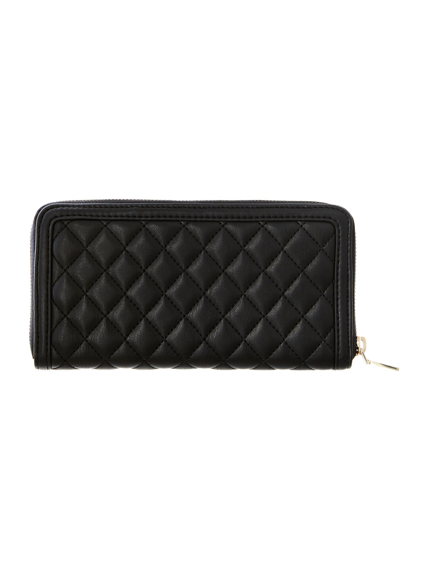 Black large quilt ziparound purse