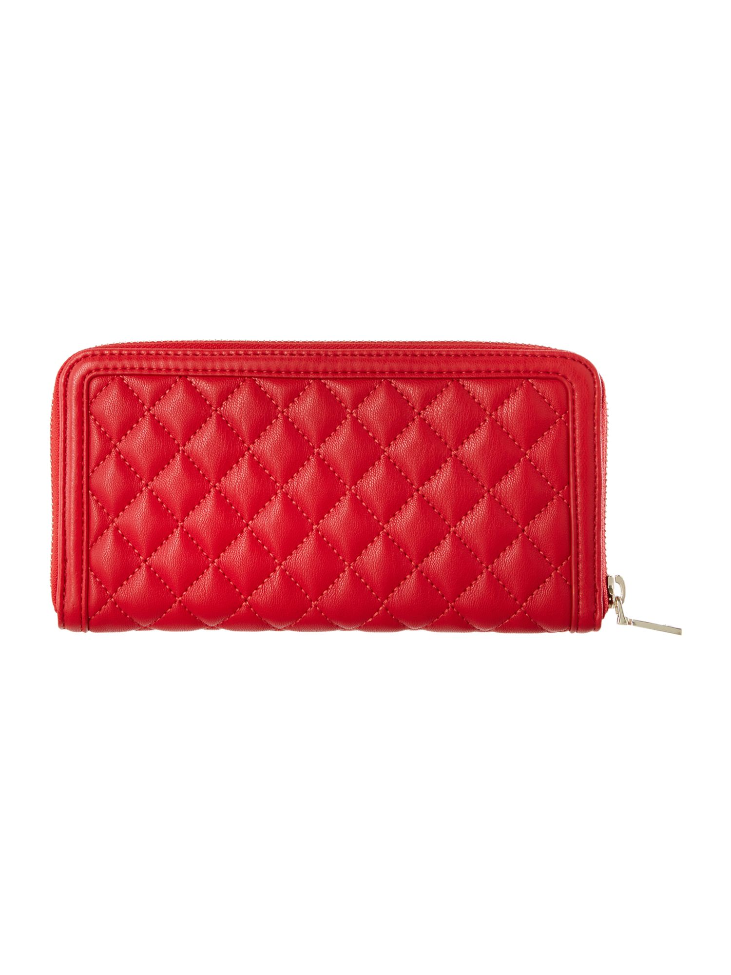Red large quilt ziparound purse
