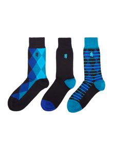 3 pack diamond print sock