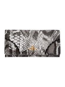 Frilly Snake grey large flapover purse