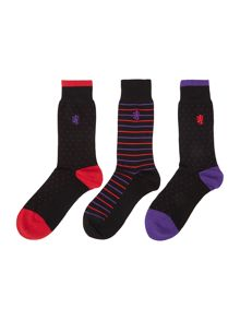 3 pack micro dot print sock