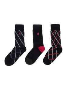 3 pack argyle print sock