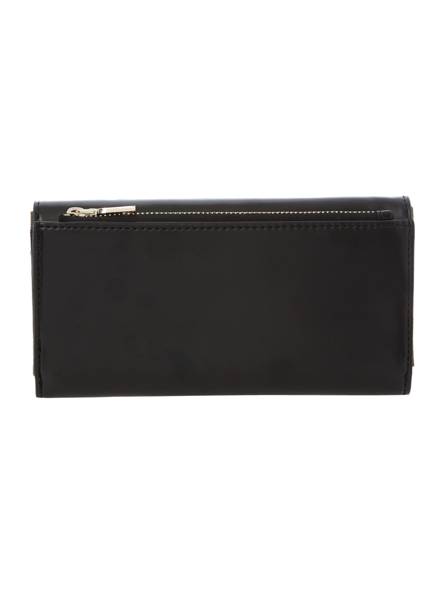 Black large frame saffiano flapover purse