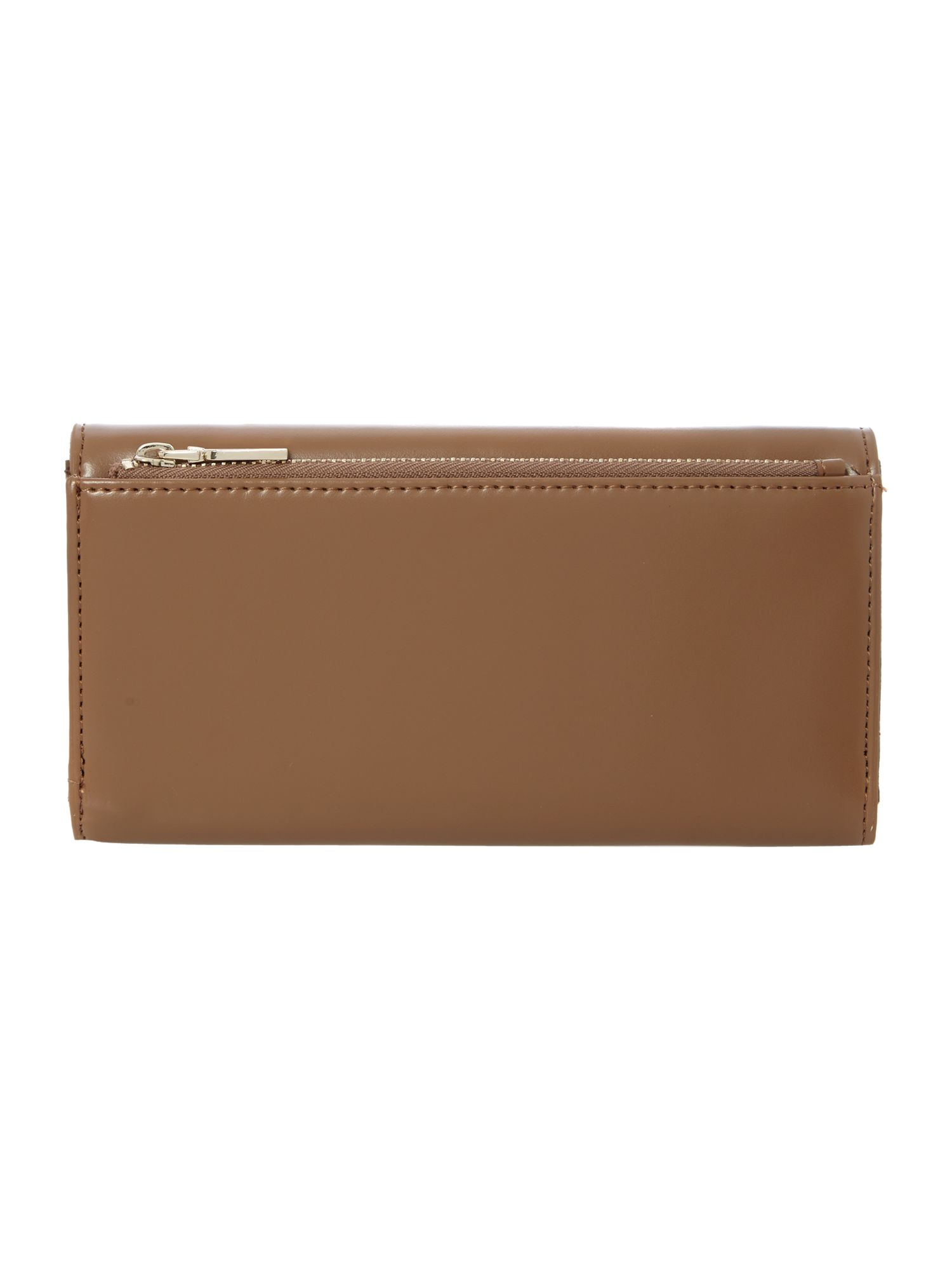Brown large frame saffiano flapover purse