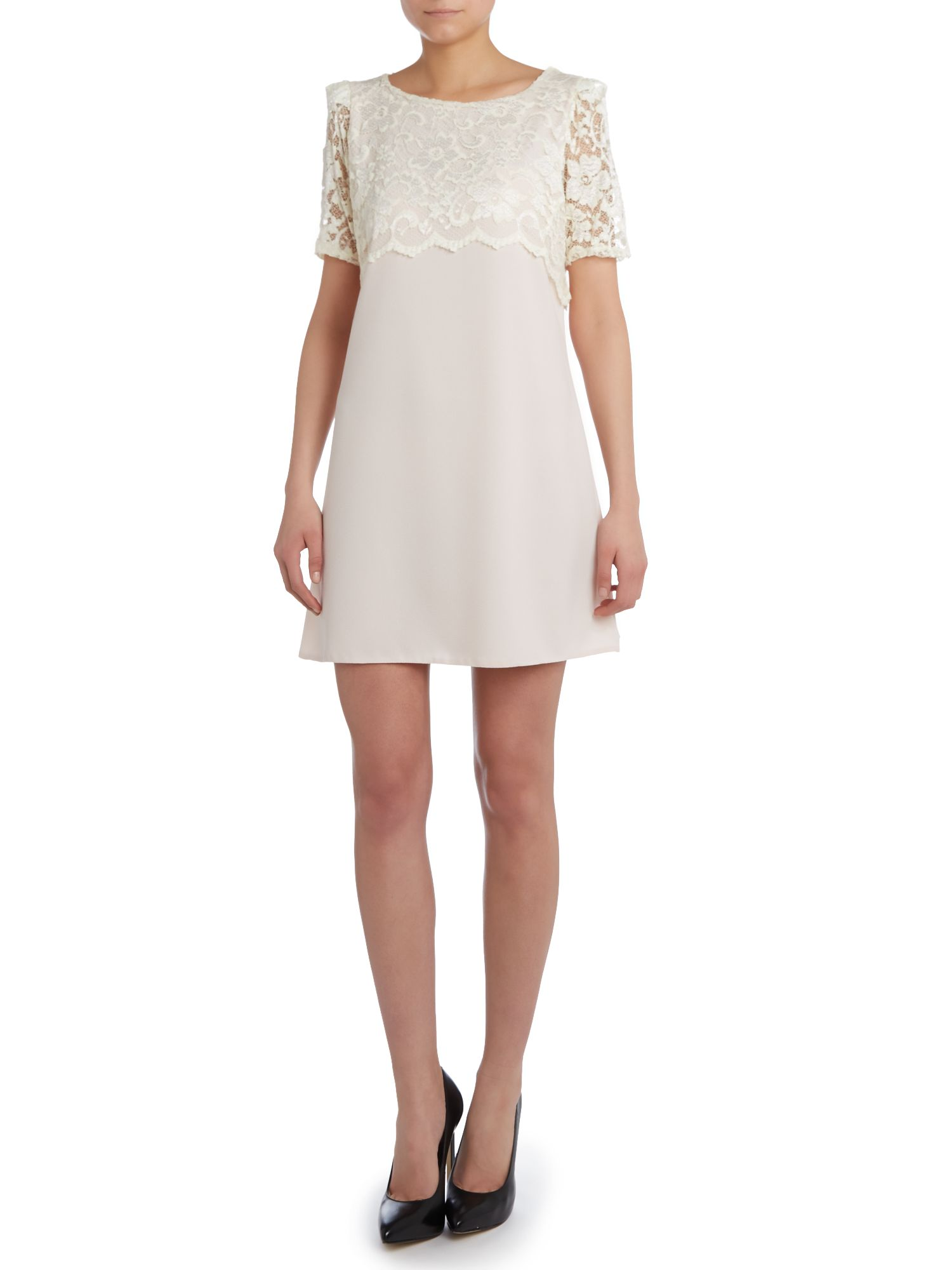 Short sleeved lace top shift dress