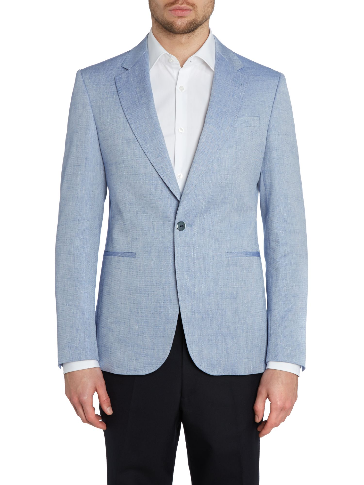Textured linen mix regular fit jacket