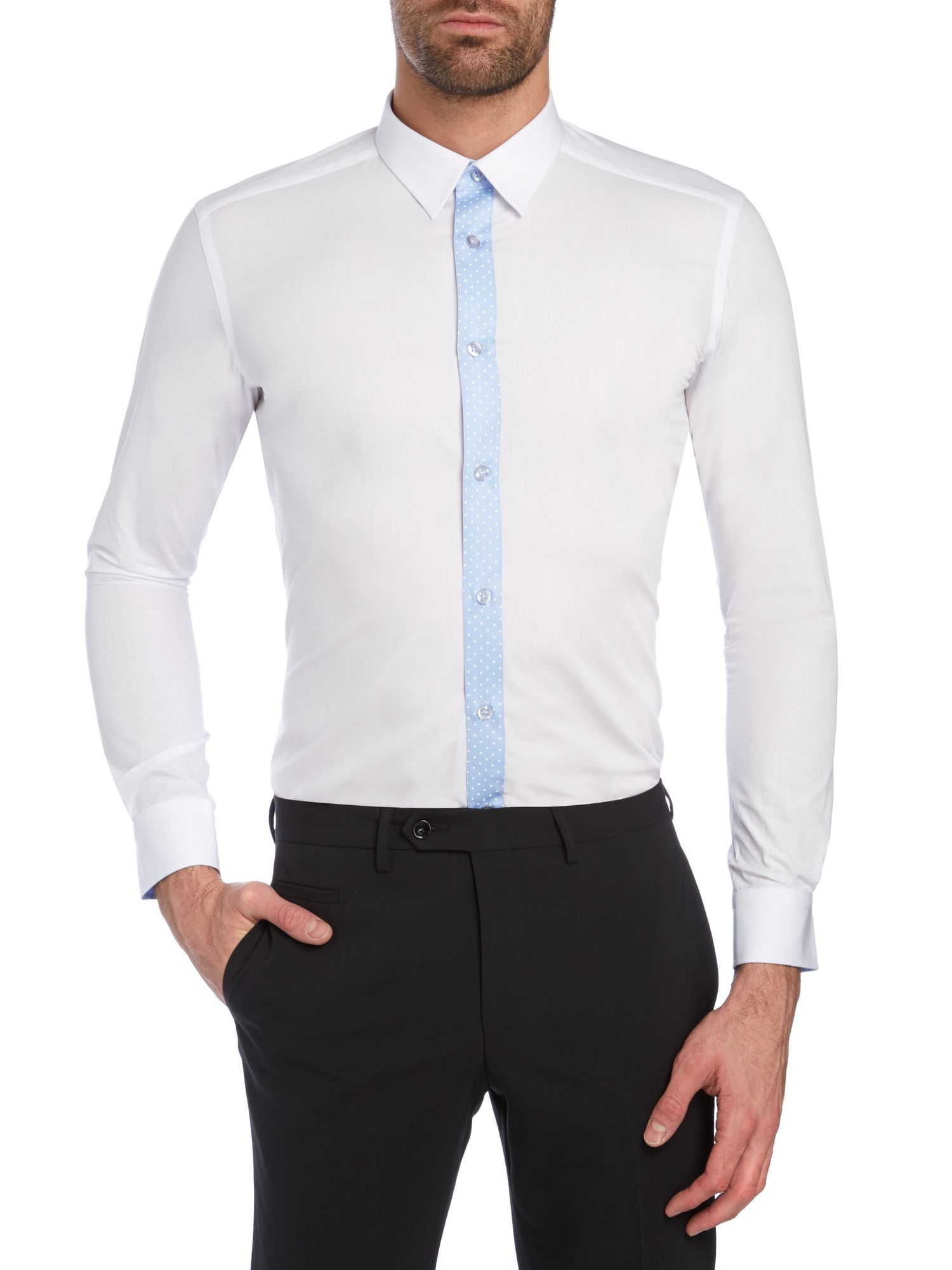 Ashton polka dot slim fit shirt
