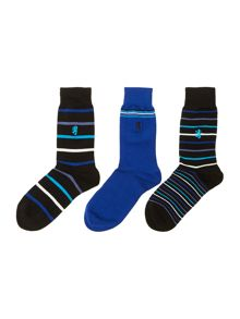 3 pack stripe sock gift box