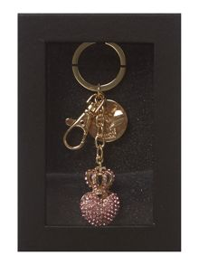 Pink jewel heart keyring