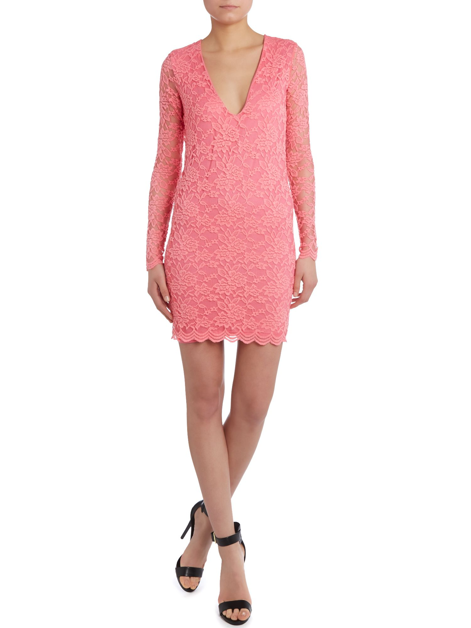 V neckline lace bodycon dress