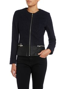 Boucle jacket with a leather trim