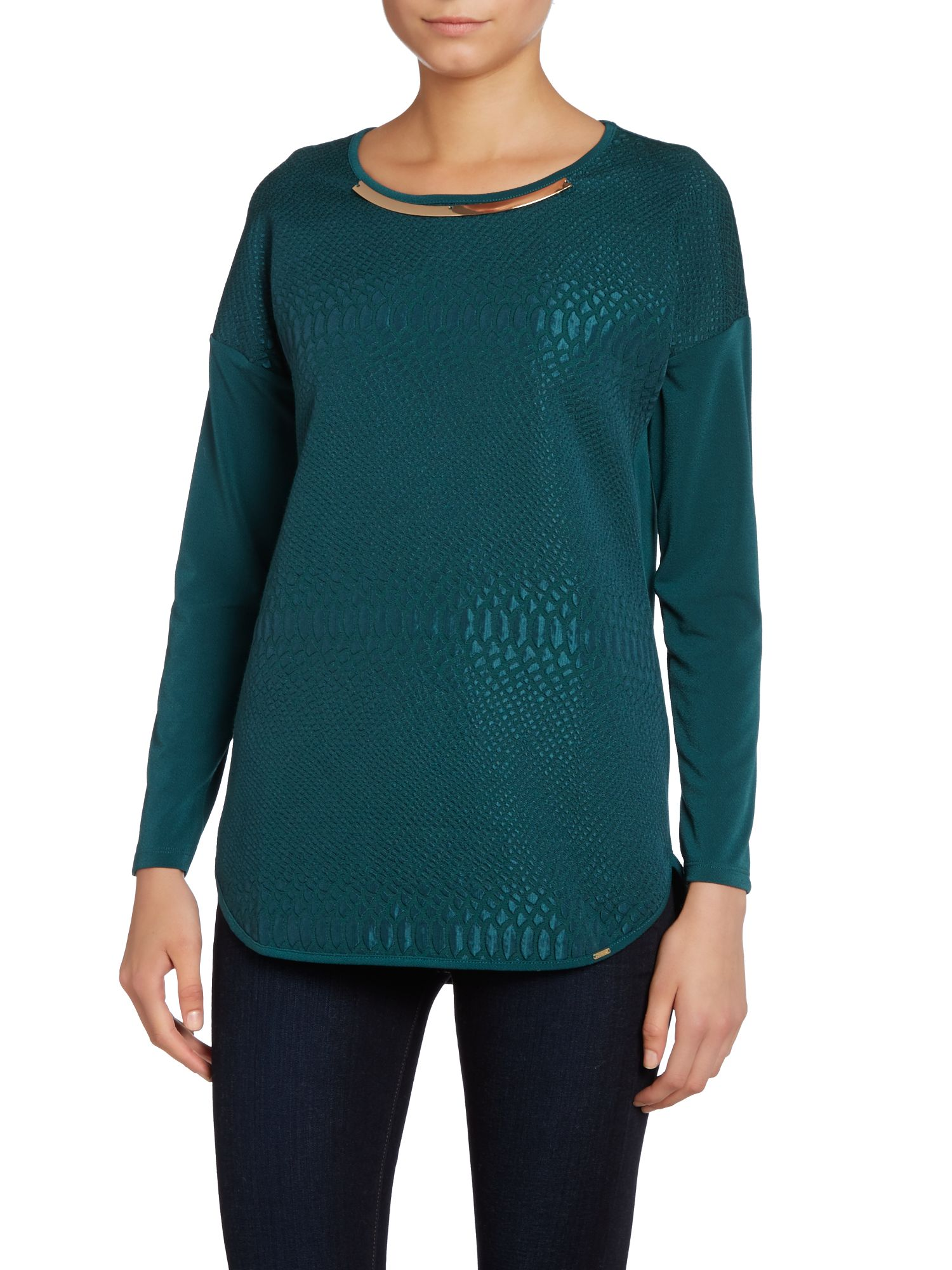 Long sleeve croc textured top