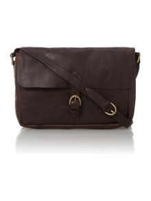 Hidesign Giles dark brown medium flapover despatch bag